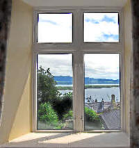 Window of triple room in The Rowans Self catering Tobermory